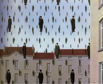 """Golconde is an oil painting on canvas by Belgian surrealist René Magritte, painted in 1953. It is usually housed at the Menil Collection in Houston, Texas.The piece depicts a scene of """"raining men"""", nearly identical to each other dressed in dark overcoats and bowler hats, who seem to be either falling down like rain drops, floating up like helium balloons, or just stationed in mid-air as no movement or motion is implied. The backdrop features red-roofed buildings and a mostly blue partly cloudy sky, lending credence to the theory that the men are not raining. The men are equally spaced in a lattice, facing the viewpoint and receding back in rhombic grid layers.  © The Shimon Yanowitz Website"""