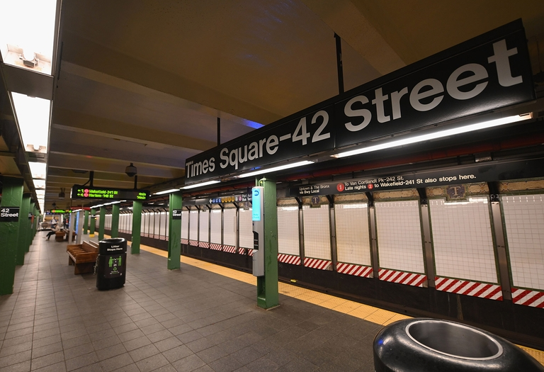 New York City's subway station at 42nd Street on March 23, 2020. © Photo by Angela Weiss / AFP) (Photo by ANGELA WEISS/AFP via Getty Images