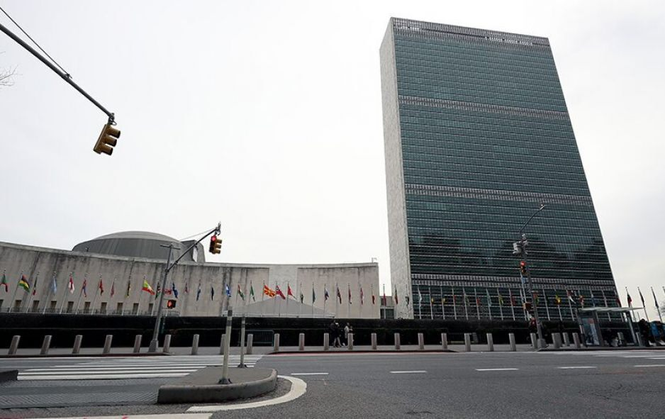"""New York, New York: The outside view of United Nations Headquarters after it closed to the public """"out of an abundance of caution""""  on March 11, 2020. © Anadolu Agency via Getty Images photo/Tayfun Coskun"""