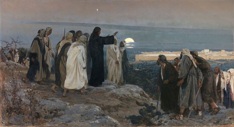 """""""Flevit super illam"""" (He wept over it); by Enrique Simonet, 1892, Museo del Prado.According to the 19th chapter of the Gospel of Luke, as Jesus approaches Jerusalem, he looks at the city and weeps over it (Luke 19:41) (an event known as Flevit super illam in Latin language), foretelling the suffering that awaits the city. The event took place on the Mount of Olives, on the background the Second Temple."""