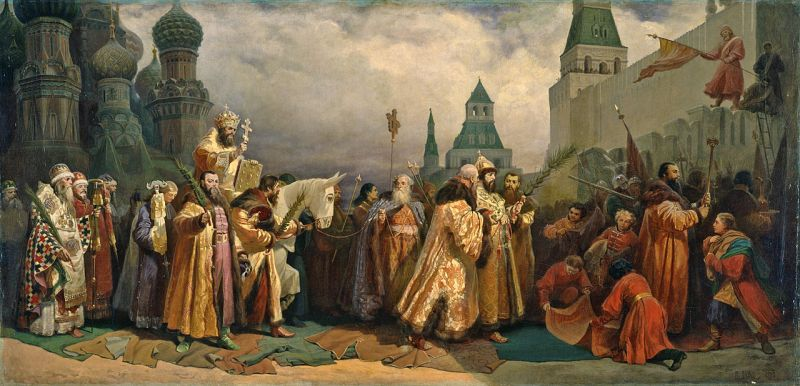 Palm Sunday procession, Moscow, with Tsar Alexei Michaelovich (painting by Vyacheslav Schwarz, 1865), Russian Museum, Saint Petersburg.  Photo by The Yorck Project (2002)