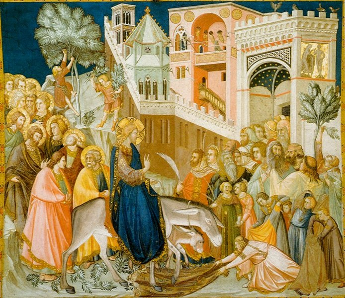 Entry of Christ into Jerusalem, by Pietro Lorenzetti (1320 Assisi fresco, Lower Basilica, San Francesco, southern transept): entering the city on a donkey symbolizes arrival in peace rather than as a war-waging king arriving on a horse.