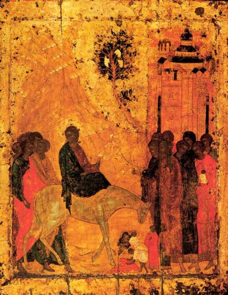 Triumphal entry into Jerusalem, Russian icon (Cathedral of the Annunciation, Moscow)