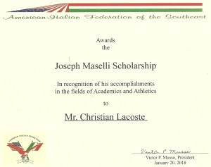 2018 Scholarship Christian Lacoste AIFEDSE AIRF Award