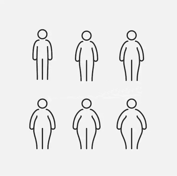 Silhouette of fat people